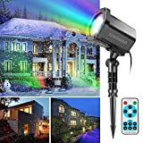 Christmas Light Projector, FengNiao Outdoor Landscape Lighting Green & Red Moving Star Show Spotlight with Remote Control for Holiday, Party, Garden Decoration (Black, Waterproof)