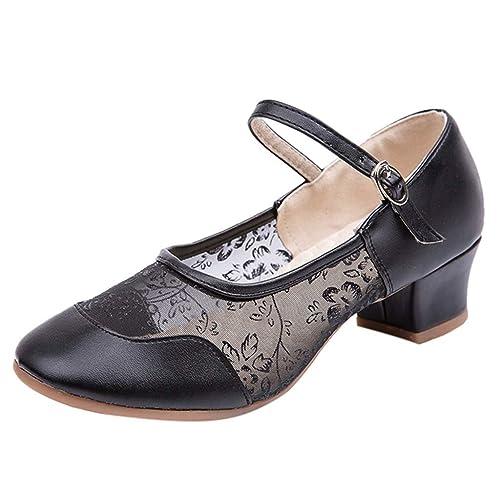 Sandalias,Internet_Mujer Tacón Medio Respirable Malla Hebilla Zapatos de Baile Latino,Sandalias De Vestido Individuales, Vendaje Punta Abierta Zapatos de ...