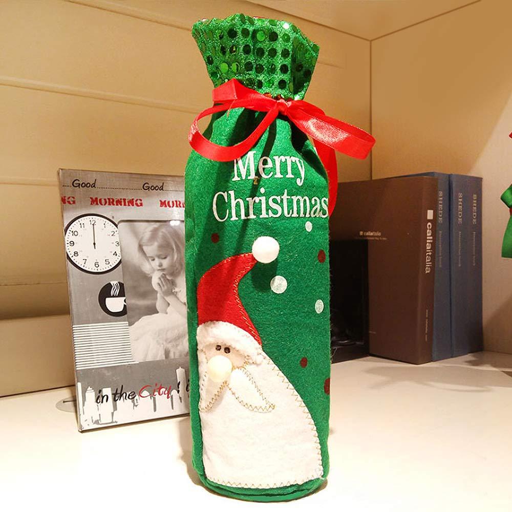 MMTX 3 Unids Navidad Vino Rojo Papá Noel Bolsas de Cubiertas de Botellas de Vino Tinto de Navidad Cordón Tela No Tejida Cena de Mesa Decoración del hogar ...