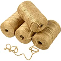 INTVN jute touw, 328 voet jute koord 3-laags 2 mm dik, jute touw voor decoratie tuin floristisch DIY Arts Bundling…