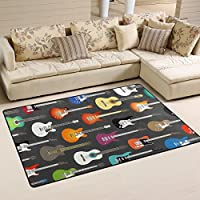 LORVIES Color Acoustic And Electric Guitars Background Area Rug Carpet Non-Slip Floor Mat Doormats for Living Room Bedroom 60 x 39 inches