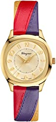 Salvatore Ferragamo Women's TIME' Swiss Quartz Stainless Steel and Leather Casual watchMulti Color (Model: F42060017)
