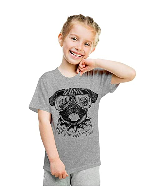 ef51af46c8d6 Youth Funny Pug Face T Shirt Hilarious Dog Cute Clever Hipster Tee for Kids  (Grey