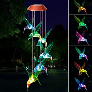 zhengshizuo Wind Chimes Outdoor, Gifts for mom,Solar Wind Chimes,Hummingbird Wind Chimes,Glowing Wind Chimes,Outdoor Decor, mom Gifts,Thanksgiving Gift, Grandma Gifts,Plastic Hangers Wind Chimes