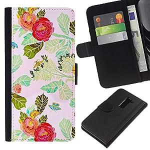 All Phone Most Case / Oferta Especial Cáscara Funda de cuero Monedero Cubierta de proteccion Caso / Wallet Case for LG G2 D800 // Red Flower Watercolor Leaves
