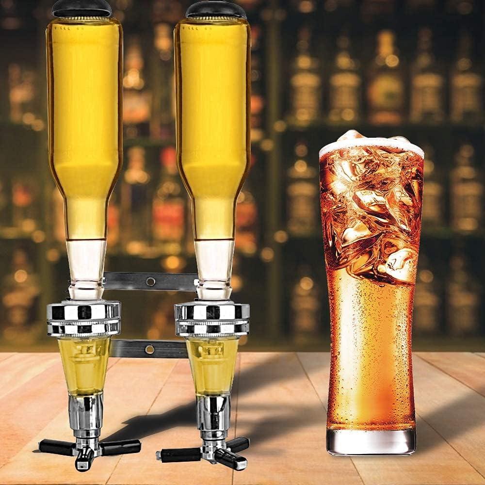MKIU Dispensador De Botellas De Vino, Soporte para 2 Botellas De Vino Montado En La Pared, Dispensador De Vino, Alcohol, Cóctel Y Cerveza