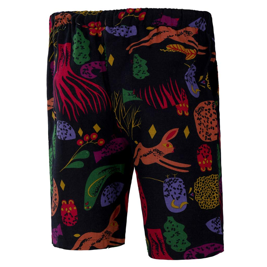 Guo Nuoen Mens New Summer Printed Casual Sport Pattern Loose Beach Mid Waist Short Pants