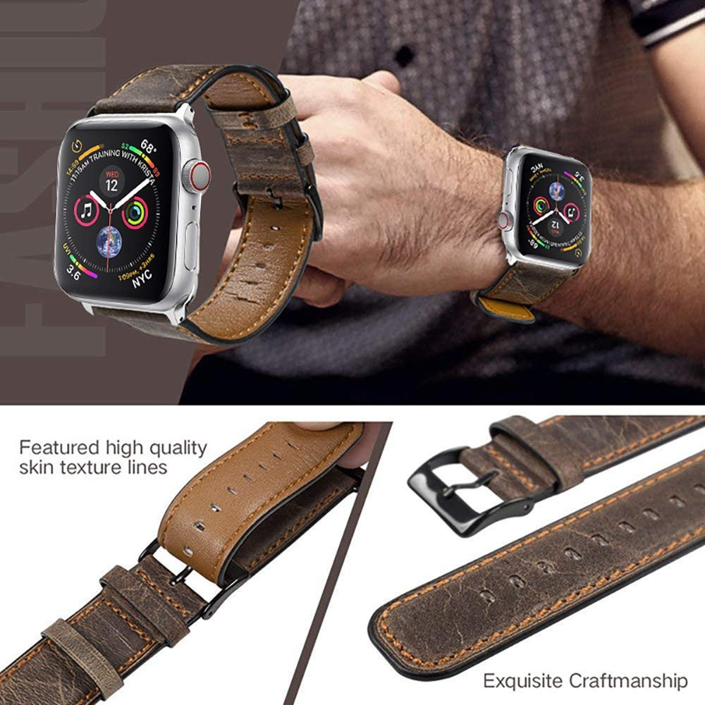 Amazon.com : XBKPLO Business Brown Leather Band Compatible for Apple Watch Band Series 4 38mm 40mm Series 3/2/1 Replacement Strap Cuff Bracelet : Pet ...
