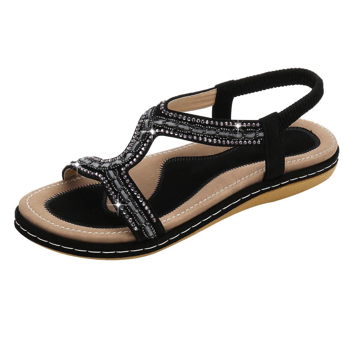 Summer Women's Flat Shoes Bohemian Sandals Open Toe Elastic Band Beach Sandals