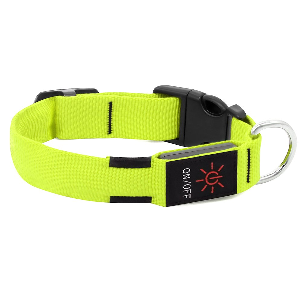 Large Dogs HiGuard LED Dog Collar USB Rechargeable Glowing Pet Collar Night Safety LED Light Up with Nylon Webbing Perfect for Small Medium