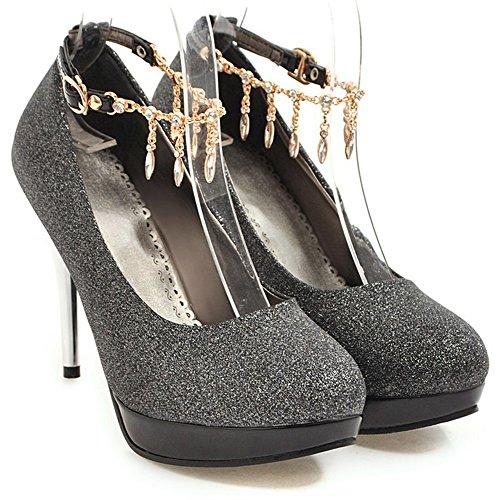 Idifu Womens Glitter Tacco A Spillo Tacco Alto Cinturino Alla Caviglia Con Cinturino Da Sposa Pompe Nere