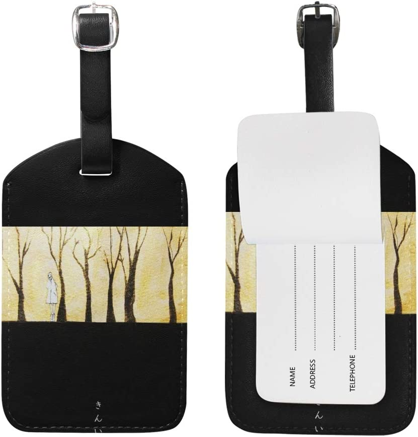 Aibileen Luggage Tag Travel ID Label Leather for Baggage Suitcase 1 Piece
