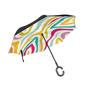 ALINLO Paraguas invertido Colorido de Pintura arcoíris de Doble Capa, Paraguas inverso Impermeable para Coche