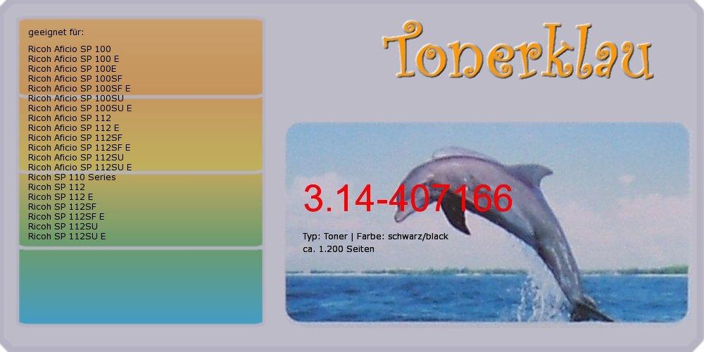compatible Toner 3.14 - 407166 para: RICOH Aficio SP 100SU e ...
