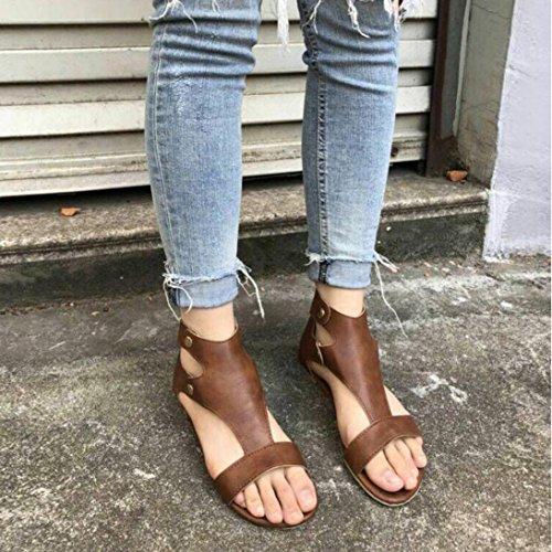 Planos Boca Hei Sandalias Sandalias de se Verano Sandalias de con Zapatos Las Ba Zapatos oras Zha Pescado Romanos Esponja Plana Mujer Una Zapatos de Beige Remaches Mujeres Base Sandalias AOOqUxwXE