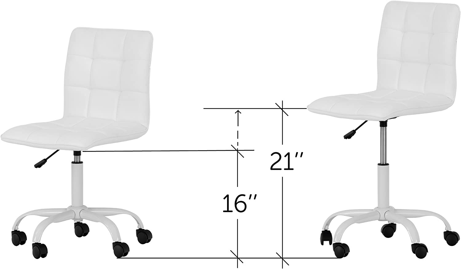 Annexe White Office Chair with Quilted Seat – Ergonomic Executive Office Chair – Mid Back Chair for Home Office by South Shore