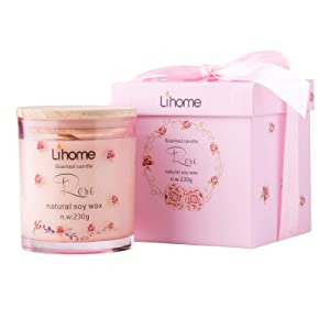 Gifts for Women - Birthday Gifts for Friends Female - Candles for Home Scented 100% Pure Natural Soybean Wax with Plant Essential Oils for Stress Relief Aromatherapy (Pink-Rose, Glass)
