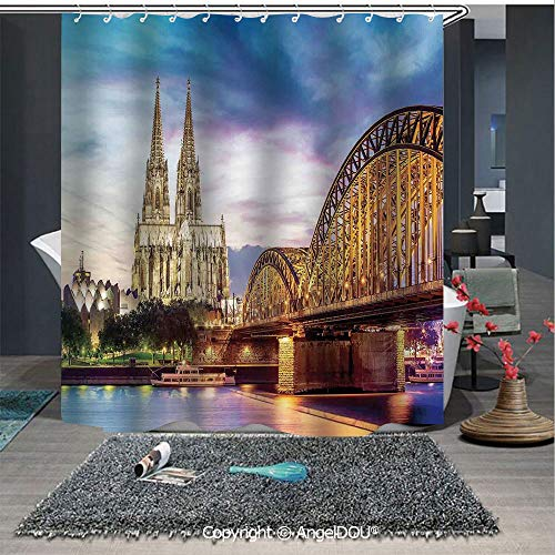 AngelDOU Cityscape Polyester Waterproof Shower Curtain Illuminated Dom in Cologne Old Bridge and Rhine at Sunset European Culture Print for Bathroom Decoration with Free Hooks
