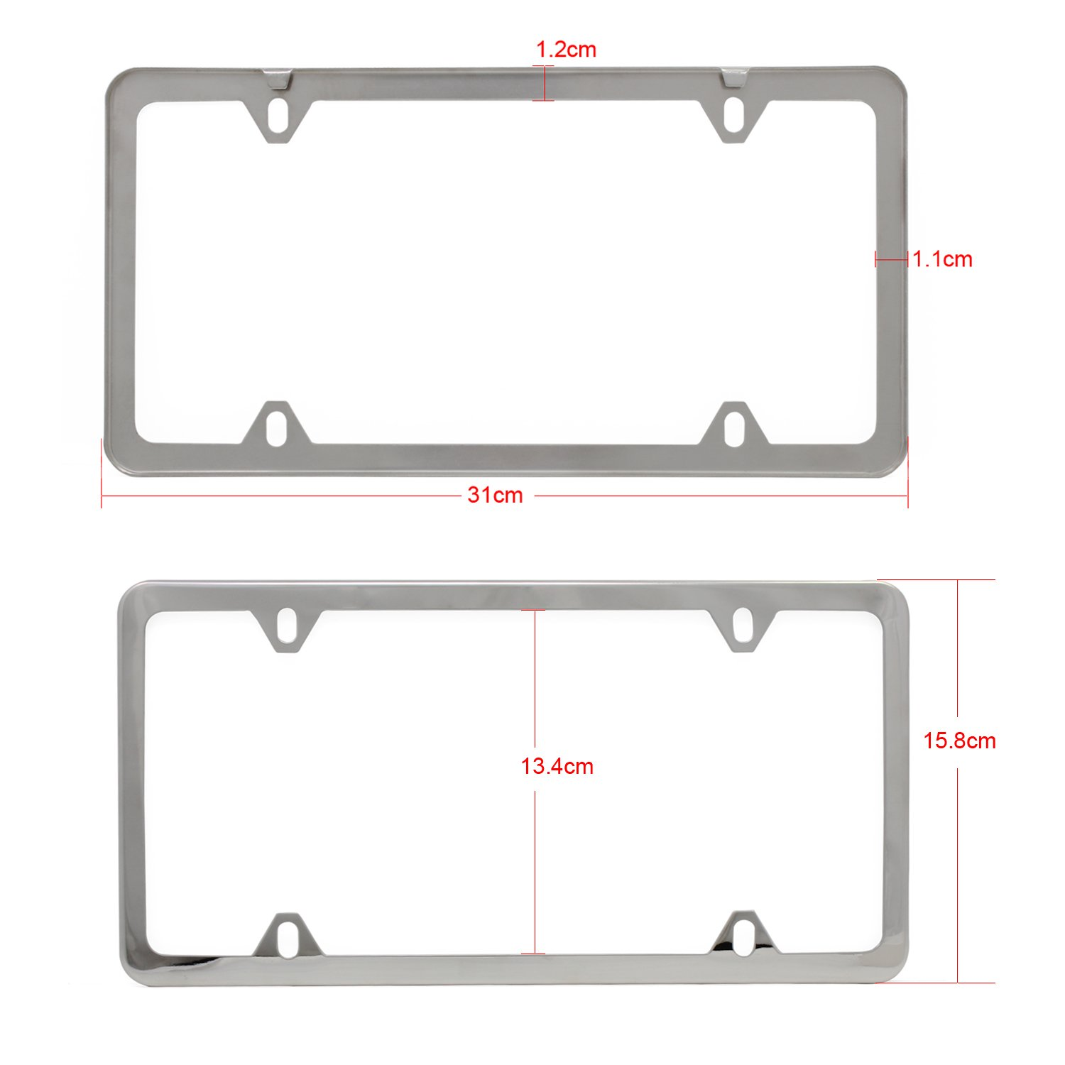 Ocrtech 4-Hole Silver OCR Stainless Steel Car License Plate Frame Car License Plate Cover with Screw Caps 2PCS