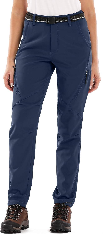 Womens Snow Fleece Soft Shell Insulated Waterproof Pants Warm Outdoor Cargo Hiking Pants