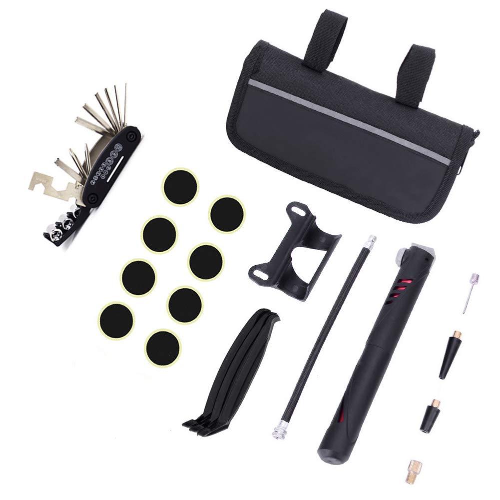 Parkomm Kit de réparation de vélo avec Mini Pompe à air + 16 en 1 Tournevis + Jeu de clés à Douille + Sac de Rangement, Outils de vélo Essentiels