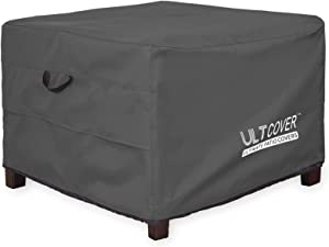 ULTCOVER Waterproof Patio Ottoman Cover Square Outdoor Side Table Furniture Covers Size 22L x 22W x 18H inch, Black