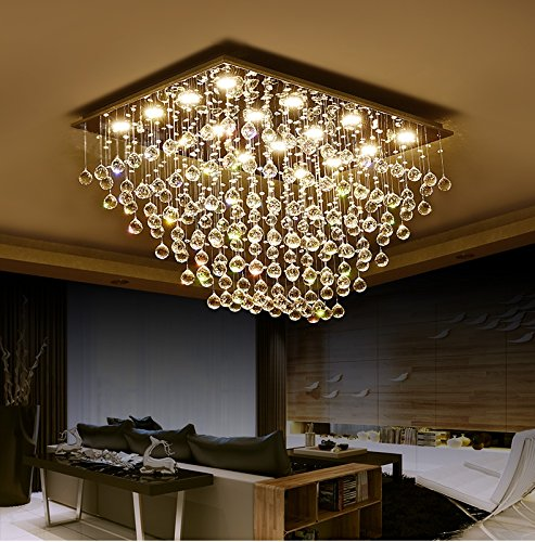 - Saint Mossi Modern K9 Crystal Raindrop Chandelier Lighting Flush Mount LED Ceiling Light Fixture Pendant Lamp for Dining Room Bathroom Bedroom Livingroom 12 GU10 Bulbs Required H 16 x W 22 x L 31 in