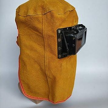 QqHAO TYXHZL montado en la Cabeza máscara de Soldadura de Cuero Completo Campana Marco de Hierro