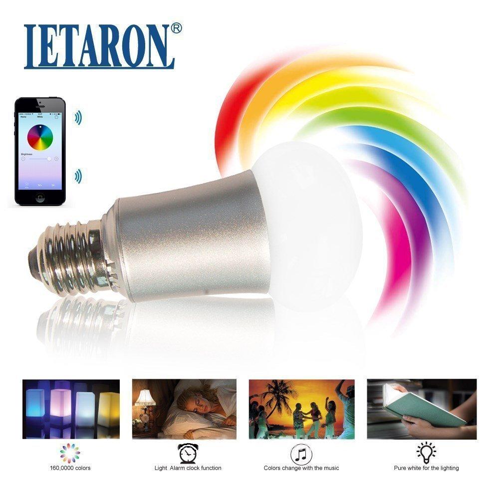 LED Bluetooth Lampe E27 RGB. Das farbige Leuchtmittel wird über ...