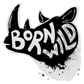 Pegatina de pared Salón Rinoceronte con letras animal de color ...