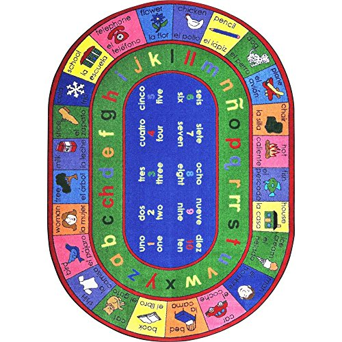 Joy Carpets Kid Essentials Language & Literacy Oval Spanish LenguaLink Rug, Multicolored, 5'4'' x 7'8'' by Joy Carpets