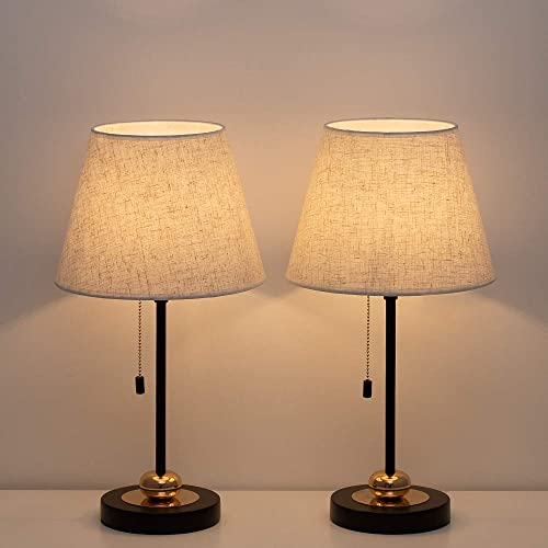 HAITRAL Bedside Table Lamps Set – Modern Nightstand Lamp with Unique Metal Base and Fabric Shade, Lamps for Living Room, Bedroom, College Dorm – Black Linen