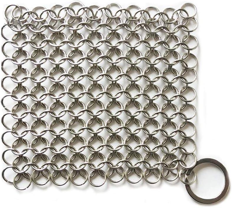 Hemore - Limpiador de hierro fundido de acero inoxidable para chinchetas de hierro fundido para sartén de hierro fundido y hornos holandeses, raspador de rejilla de hierro fundido