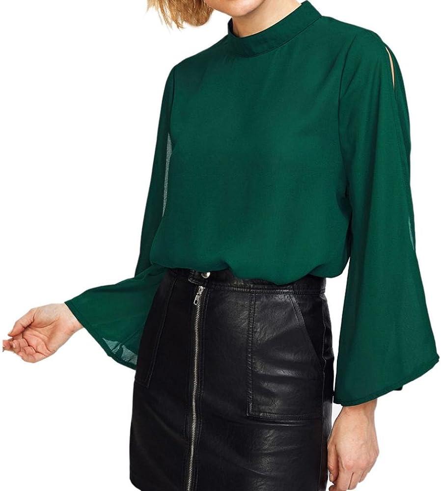 FAMILIZO Camisa Mujer Manga Larga, Camisetas Escote Mujer Camisetas Mujer Verano Blusa Mujer Elegante Camiseta Mujer Manga Larga Camisetas Mujer Fiesta Camisetas Gasa Mujer (S, Verde): Amazon.es: Ropa y accesorios