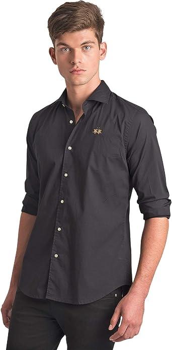 La Martina - Camisa Negra Basique Logo Dorado Slim Fit para Hombre Negro M: Amazon.es: Ropa y accesorios