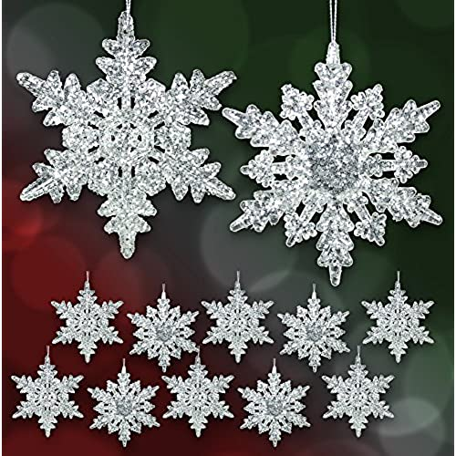 acrylic iridescent snowflake christmas ornaments set of 12 assorted styles of snowflakes clear acrylic with glitter winter snowflake decorations