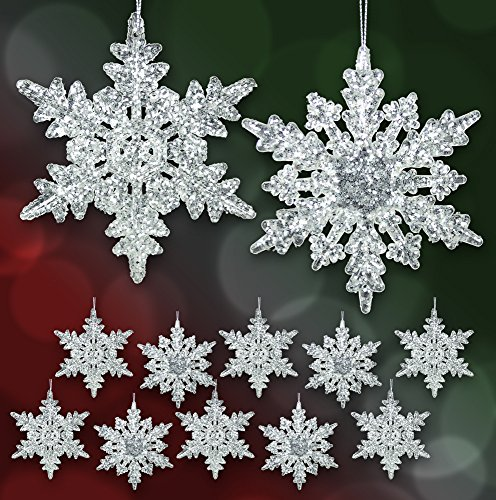 """Set of 12 Acrylic Iridescent Snowflake Christmas Ornaments Winter Wedding Favor Birthday Party Theme Decoration for Girls - 4.5""""d"""