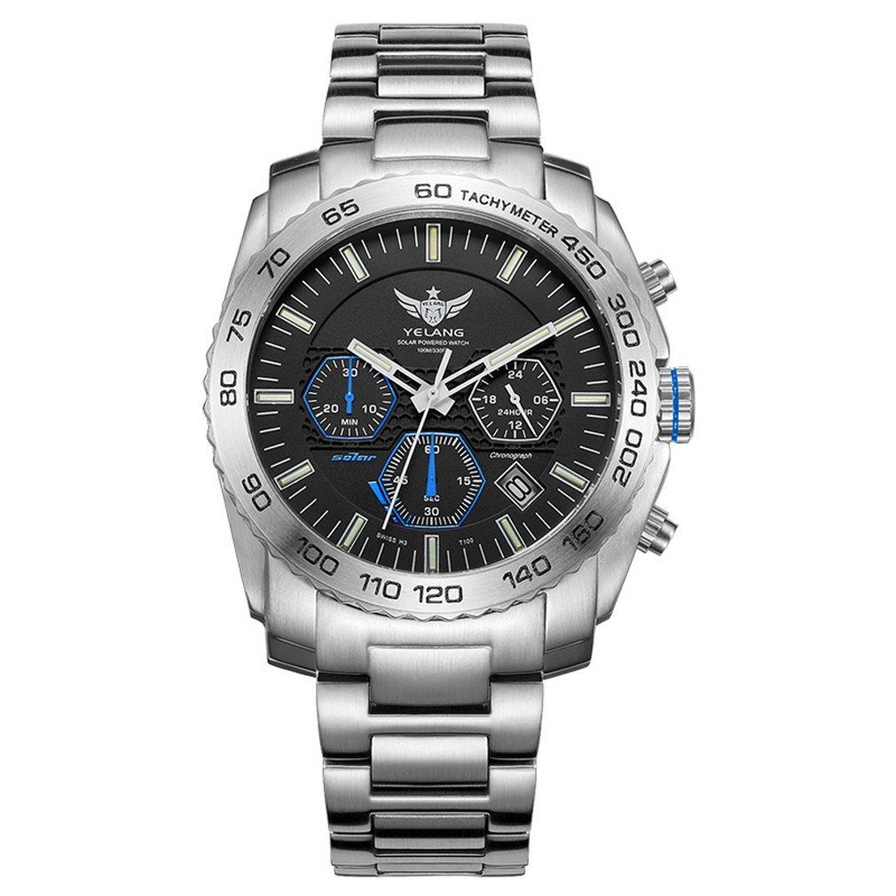 New Arrive YELANG V1210 Eco-Drive Movement T100 Tritium Luminous Steel Strap Sapphire Mirror Men Business Watch Wristwatch - Blue Luminous by YELANG