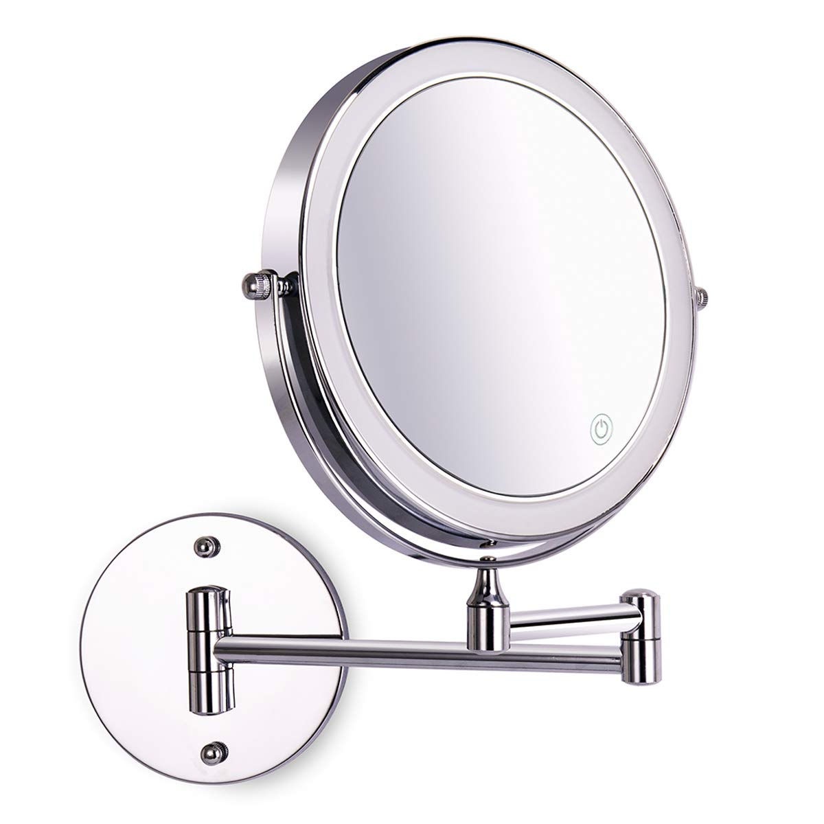8 Inch Wall Mounted Makeup Mirror Adjustable LED Light Touch Screen 1X 10X Magnifying Two Sided 360 Swivel Extendable Vanity Mirror