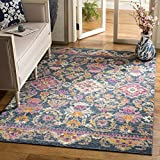 Safavieh Madison Collection MAD130C Blue and Fuchsia Bohemian Chic Floral Area Rug (5'1 x 7'6)