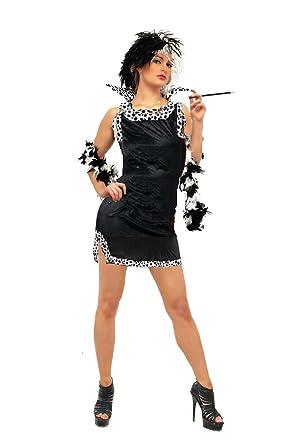CC Cruella De Ville Style Fancy Dress Costume Mini Dress With Accessory  Pack (wig cc503b71f
