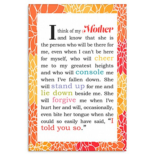 (Kat Mariaca Studio I Think of My Mother Canvas Decorative Sign with Love Sayings - CHOOSE SIZE (24 x 36) )