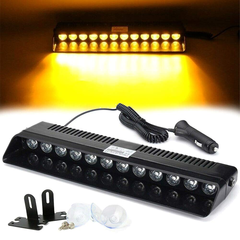 DD-BOMG Car LED Strobe Lights Windshield Flashing Dash Emergency Lamp Amber Warning Flashing Light 12V
