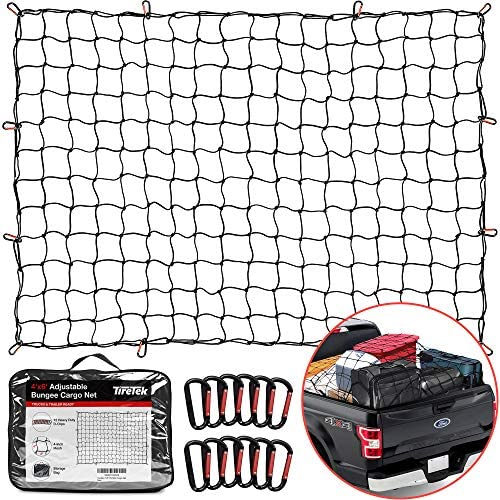 "TireTek Cargo Net for Pickup Truck Bed- 4' x 6' Stretches to eight' x 12'- Heavy Duty Small 4""x4"" Latex Bungee Net Mesh with 12 Metal Carabiners - Compatible with Ford, Dodge RAM, Chevy, Toyota"