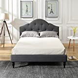 Classic Brands DeCoro Winterhaven Upholstered Platform Bed   Headboard and Wood Frame with Wood Slat Support   Grey, King