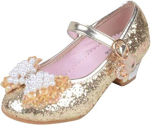 ELECTRI Fille Cristal Fleur Chaussures de Princesse Reine des Neiges Elsa Anna Talons Plats Paillettes Déguisement Argenté Bleu Rose Doux Halloween