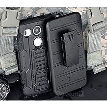 LG Nexus 5X Case, Cocomii Robot Armor NEW [Heavy Duty] Premium Belt Clip Holster Kickstand Shockproof Hard Bumper Shell [Military Defender] Full Body Dual Layer Rugged Cover Google (Black)