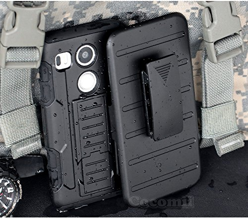 Cocomii Robot Armor LG Nexus 5X Case New [Heavy Duty] Premium Belt Clip Holster Kickstand Shockproof Hard Bumper Shell [Military Defender] Full Body Dual Layer Rugged Cover for LG Nexus 5X (R.Black) (Lg Nexus 5 Accessories)