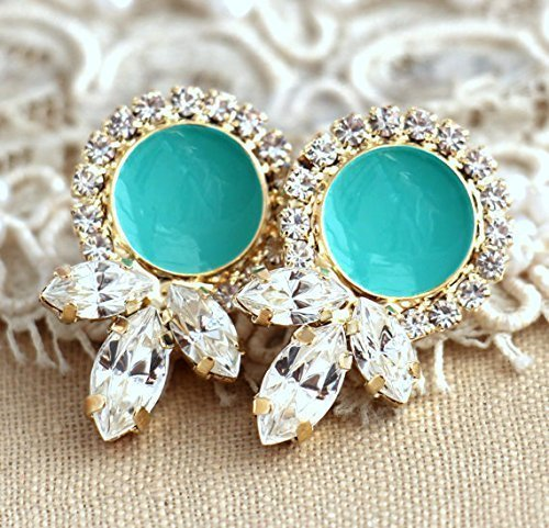 Bridal Turquoise and White Crystal Drop Stud Earrings, Swarovski Bridesmaids Gifts, Handmade Wedding Jewelry (Crystal Earrings Petite)