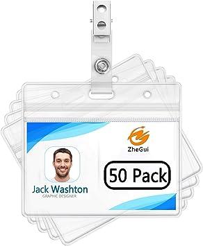 1 Horizontal ID Badge Plastic Holder Zip Lock With Metal Clip ID Card School NEW